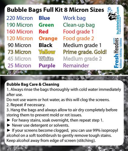Bubble Bags Full Kit 8 Micron Sizes